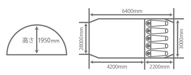 カマボコテント サイズ